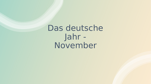 Calendar of Life in Germany - November