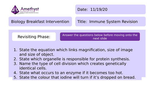 Lecture/Revision Lesson - The Immune System