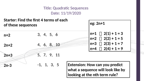 Quadratic Sequences (Adapted Lesson with Handout, Recap and Exit Pass)
