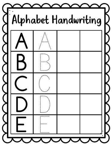 Alphabet Handwriting Sheets - Uppercase A-Z