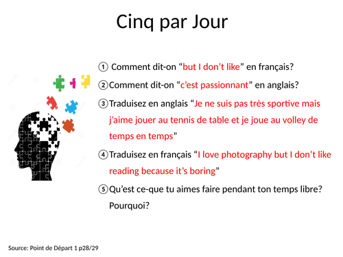 GCSE Studio French Mod 2 Retrieval Tasks