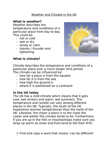 Climate and Weather in the UK Reading Comprehension