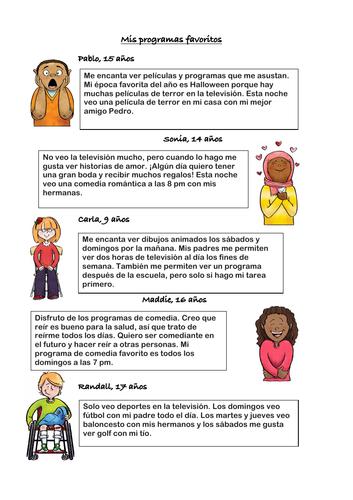 Mis programas favoritos televisión Lectura: Spanish Movies and TV Reading