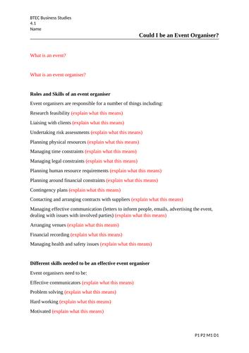 Business BTEC Level 3 2016 U4 U5 U24 Writing Frames