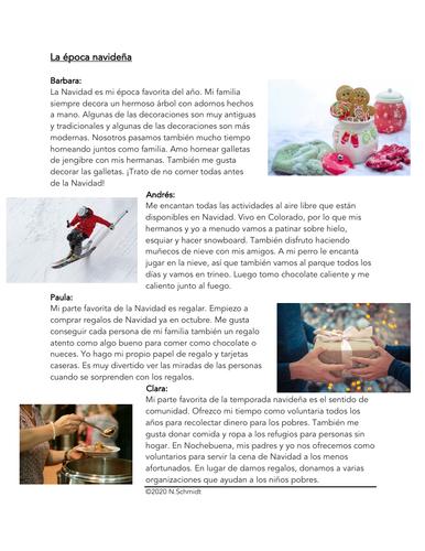 La Navidad Lectura: Christmas Holidays Spanish Reading