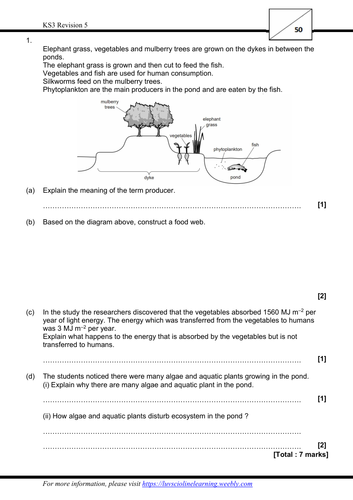 Revision 5 - Exam style questions (KS3, Year 9, IGCSE)