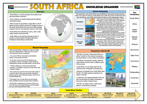 South Africa Knowledge Organiser - Geography Place Knowledge!