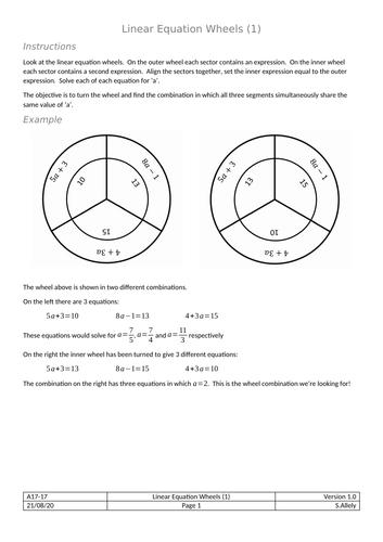 Wheels - Solving Linear Equations