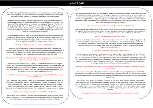 King Lear Character Notes