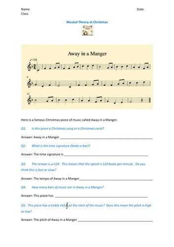Fun music theory activity based on Away in a Manger