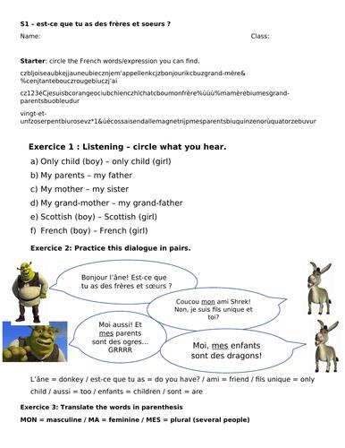 Worksheet family Shrek and Spongebob