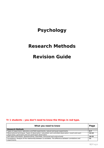 Research Methods Revision Guide