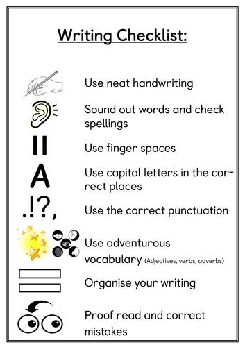 Writing Checklist Display Poster