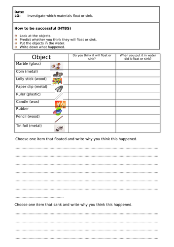 KS1 Science -  Floating and Sinking Activities and Worksheets