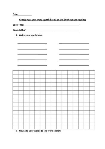 Reading activity - Create Your Own Wordsearch