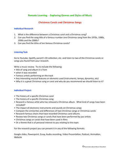 Remote learning listening and music project work - Christmas Songs and Carols
