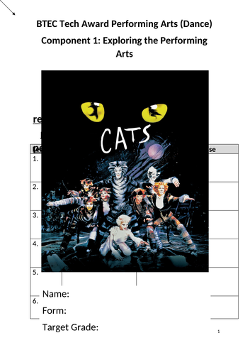 BTEC Dance Level 2 Tech Award Component 1 CATS student research booklet