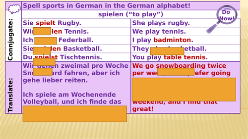 Y7 German Lesson 35 - Hobbies and Regular and Irregular Verbs