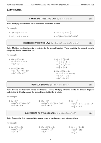 Algebra Guide: Expanding and Factorising