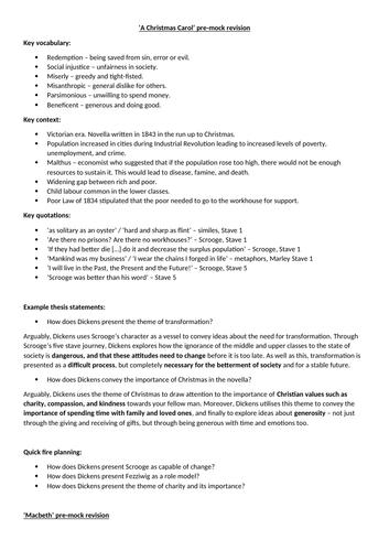 A Christmas Carol and Macbeth pre-exam revision sheet (AQA Lit Paper 1)