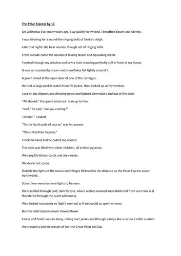 The Polar express  Short story Play script
