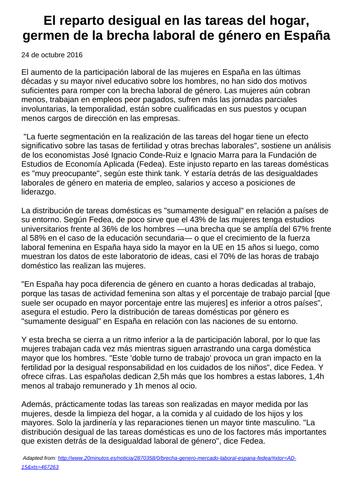 Las tareas del hogar reading A Level Spanish