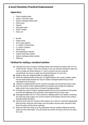 Year 12 A level Chemistry Practical Endorsement Sheets