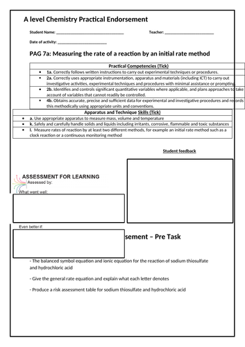 Year 13 A level Chemistry Practical Endorsement Sheets