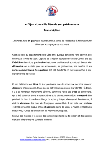 KS5 French Listening - Le Patrimoine Dijon