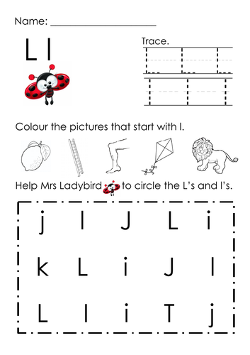 (Alphabets) Finding Letter L l and Pictures Printable