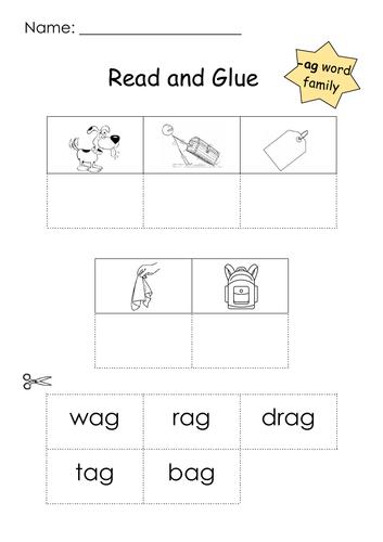 Phonics -ag Word Family Read and Glue Printable