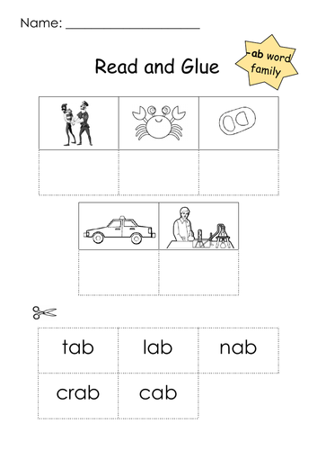 Phonics -ab Word Family Read and Glue Printable