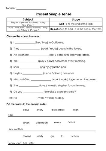 Grammar Present Simple Tense Printable