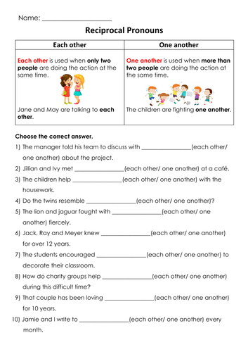 Grammar Reciprocal Pronouns (Each Other/ One Another) Printable