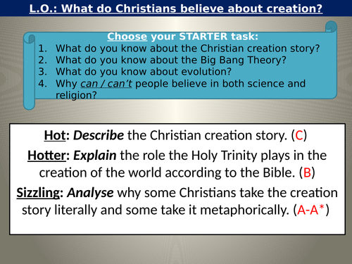 WJEC GCSE RE - Creation Unit One Christianity Beliefs and Teachings Lesson
