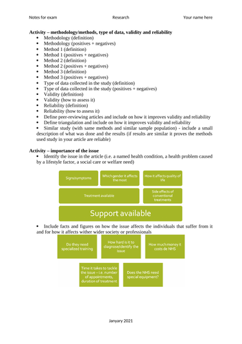 Unit 4 - Enquiries into current research in health and social care (Notes structure)