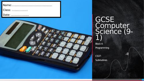 CS37: Subroutines (Workbook)