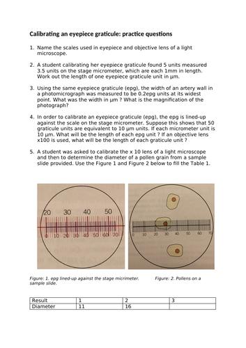 A level Biology: Eyepiece graticule calibration practice questions