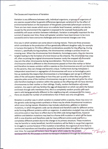 The Causes and Importance of Variation - 25 Mark A* Biology Synoptic Essay