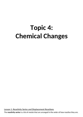 AQA Chemistry Topic 4: Chemical Changes Booklet and Answers