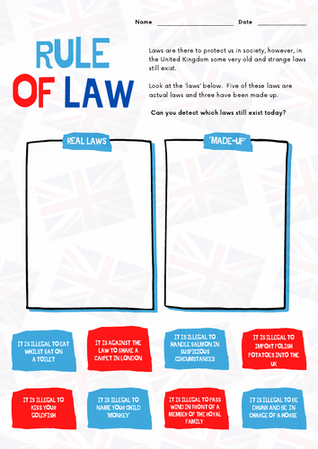 PSHE British Values: Rule Of Law Lesson. Overview, Quiz and PowerPoint - 19 Slides
