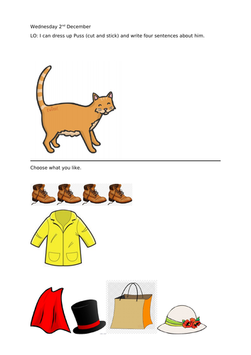 Puss in Boots dress up worksheet