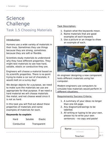Primary KS2 Science Challenge Activities