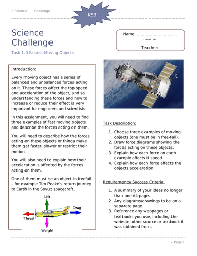 KS3 Science Science Challenge Activities