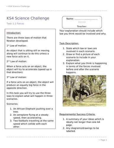 KS4 Science Combined Science Challenge Activities