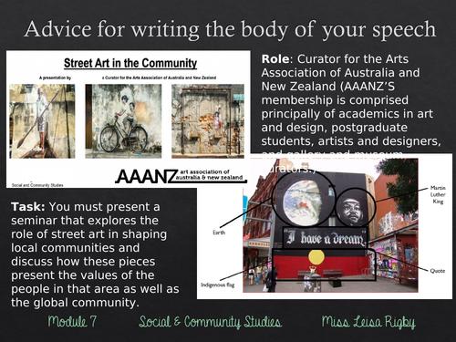 Social and Community Studies - Arts & Community - writing a multimodal (body)