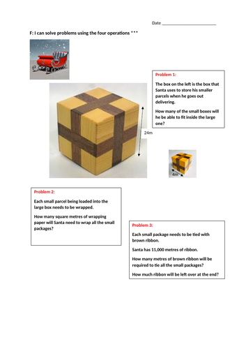 Year 6 GDP: Christmas Santa's Sleigh Shape and Space/Four Operations Problem Solving for GDP