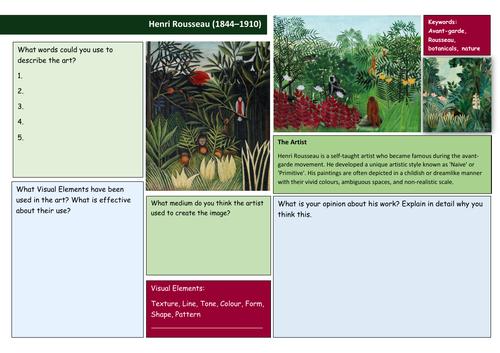 Henri Rousseau Analysis worksheet