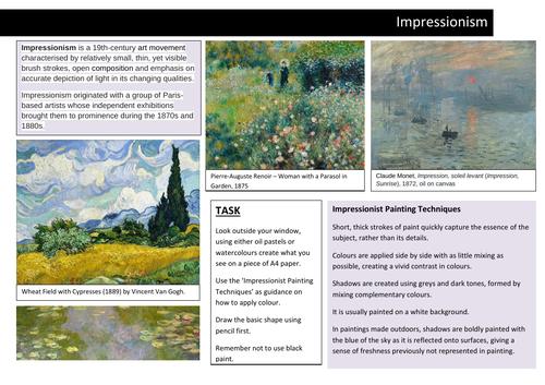 Impressionism Painting Worksheet