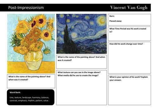 Van Gogh analysis sheet